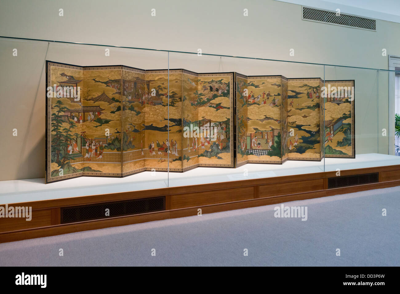 'Scenes from the Life of the Chinese Emperor Minghuang (Xuanzong) and Yang Guifei' Japanese folding screens - Stock Image