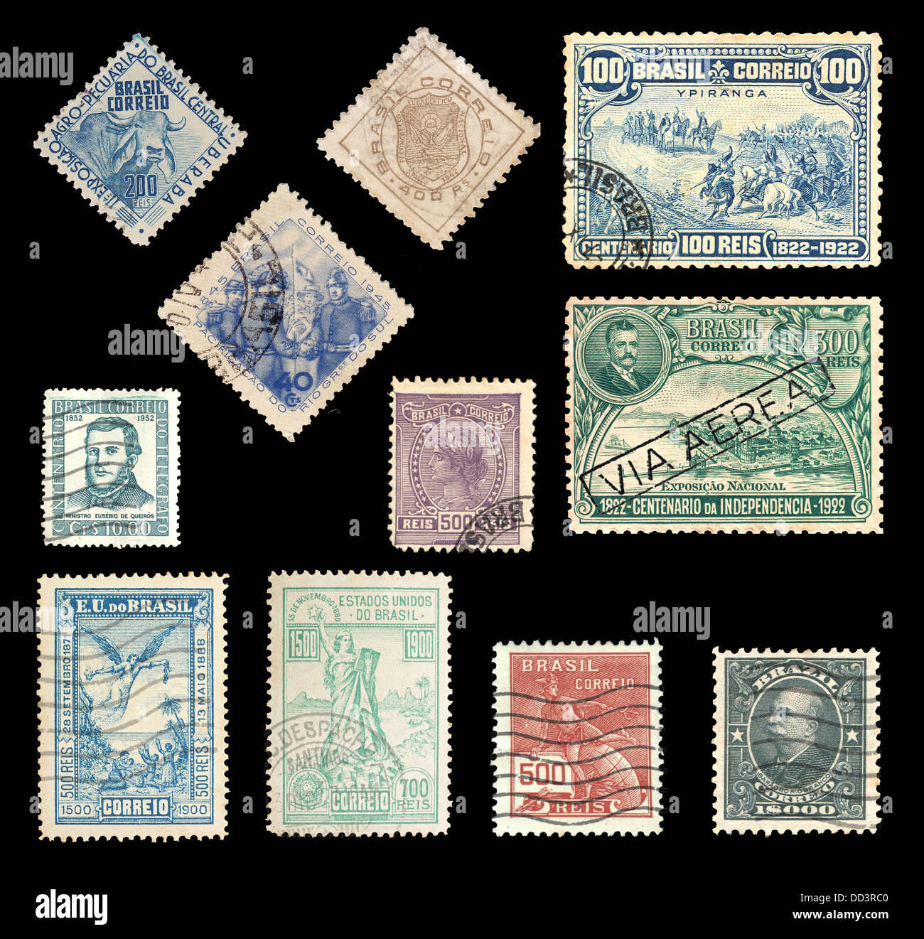 Various stamps from Brazil from 1900 – 1952 showing national symbols - Stock Image