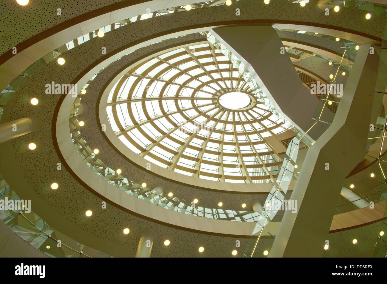 Architectural detail of modern building of Central Library in the city center of Liverpool, England. - Stock Image