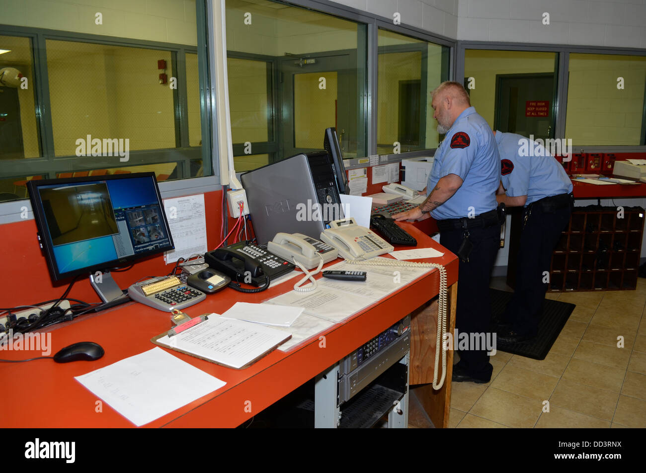 Master Control is the technological center of prisons. Diagnostic and Evaluation Center, Lincoln, Nebraska. - Stock Image