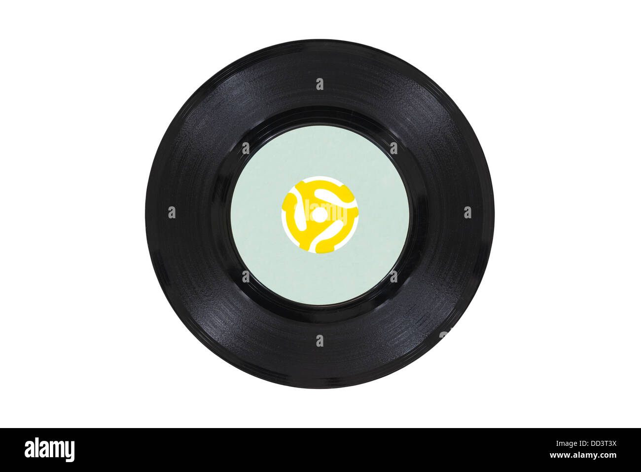 Vintage 45 rpm vinyl phonograph with yellow record player adapter. - Stock Image