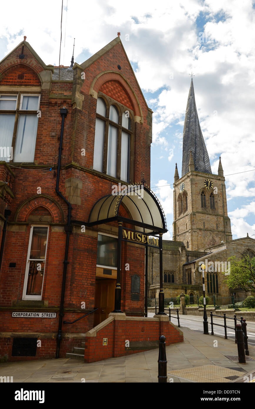 Chesterfield Museum and Art Gallery with St Mary's Church spire in the background UK - Stock Image