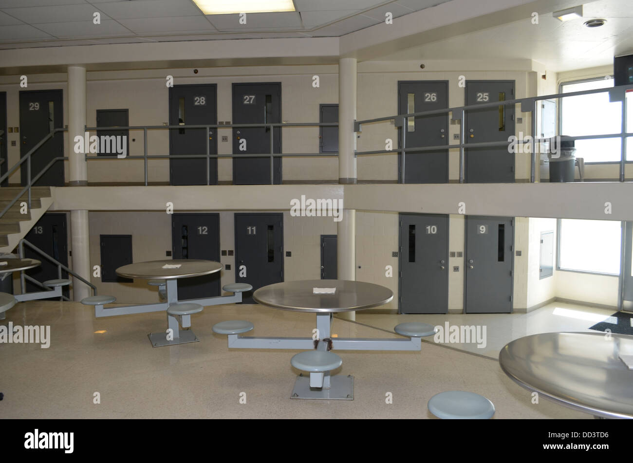 Housing unit at the Diagnostic and Evaluation Center, a maximum secuirty prison in Lincoln Nebraska. - Stock Image