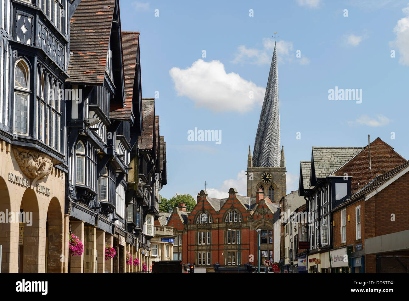 Chesterfield town centre buildings and the crooked spire of St Marys's Church - Stock Image