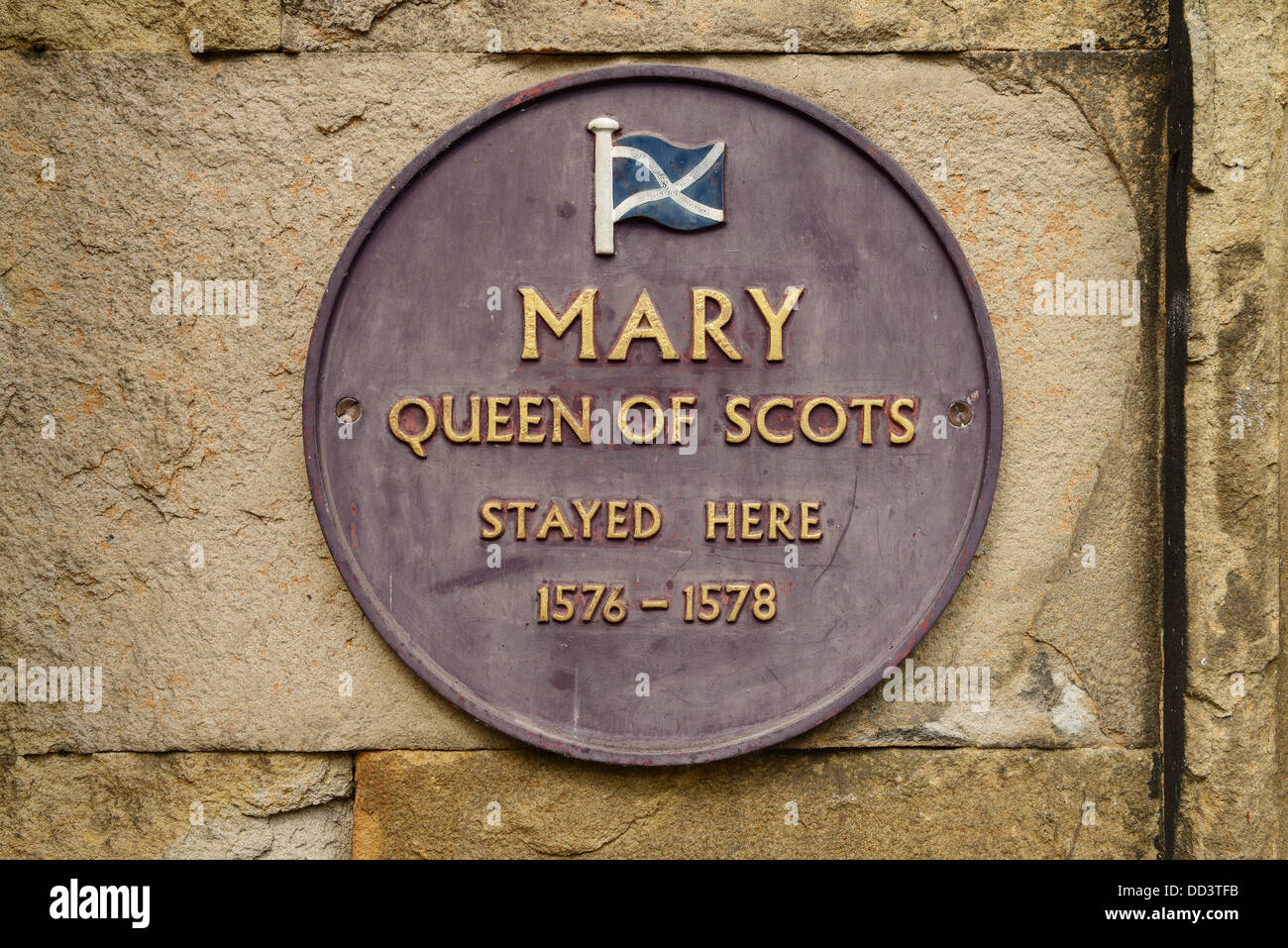 Round plaque outside the Old Hall Hotel Buxton stating Mary Queen of Scots stayed here - Stock Image