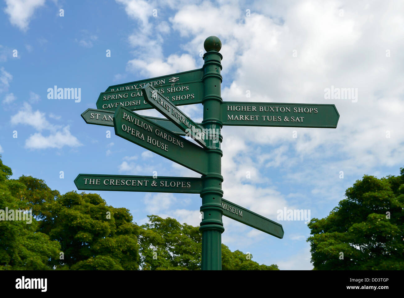 Signpost showing the tourist locations in Buxton town centre UK - Stock Image