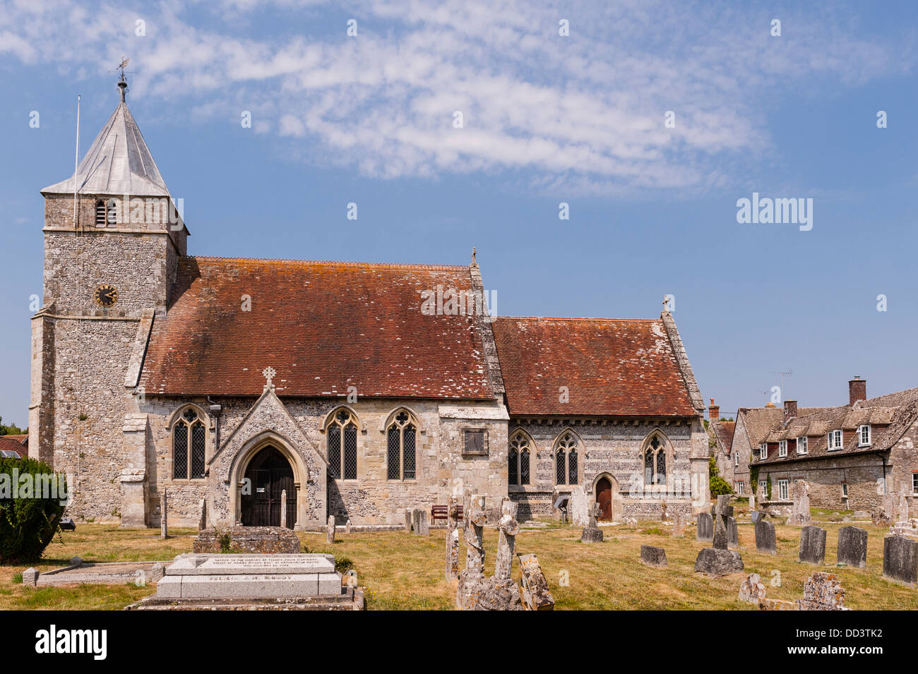 The church of All Saints in Steeple Langford , Wiltshire , England , Britain , Uk - Stock Image