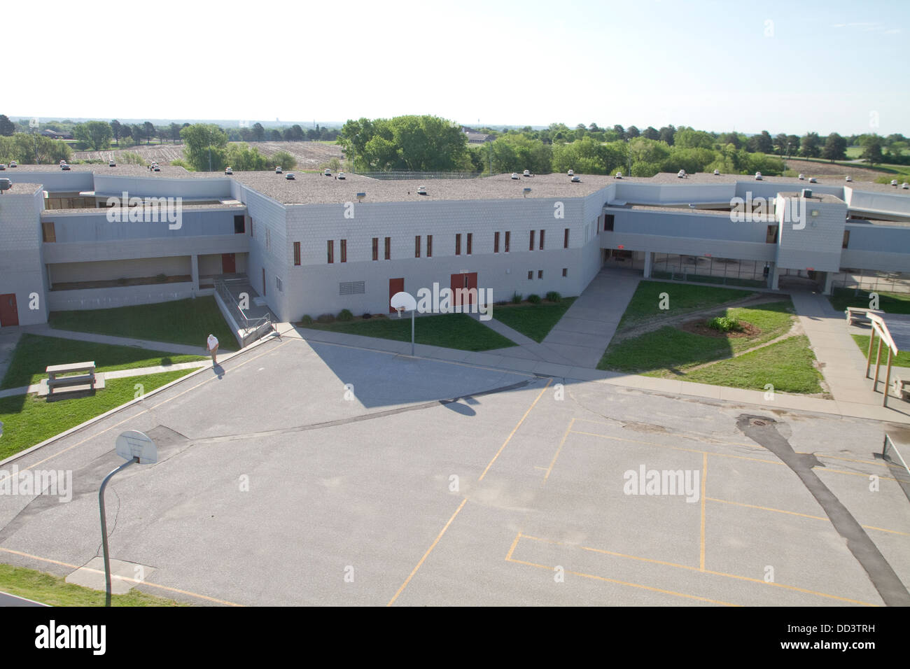 View from one of the towers overlooking housing unit at the Lincoln Correctional Center prison in Lincoln Nebraska. - Stock Image