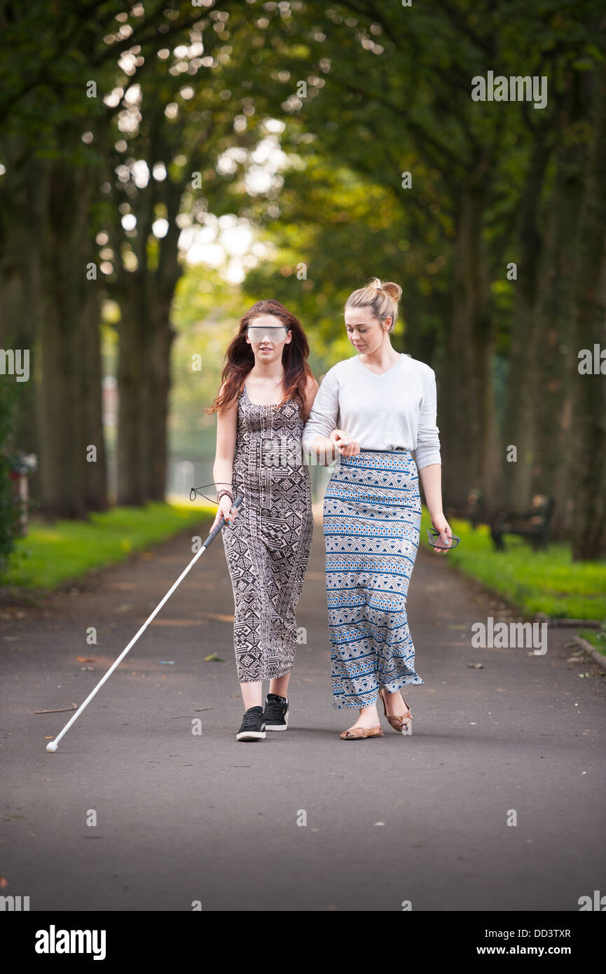 visual impairment simulation glasses training - Stock Image