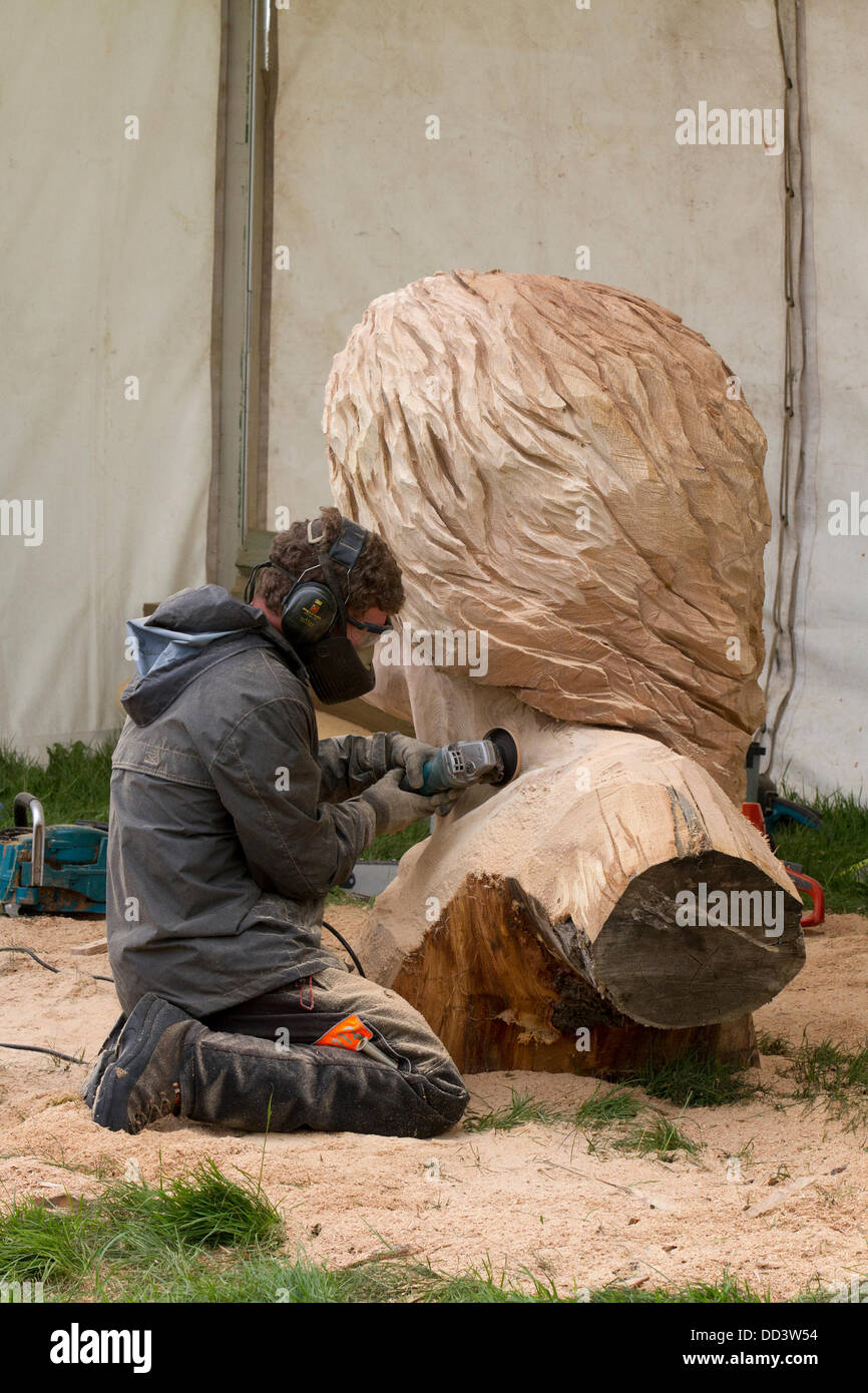 Tabley, Cheshire, UK 25th August, 2013. Simon O'Rourke at the 9th English Open Chainsaw Carving Competition, - Stock Image