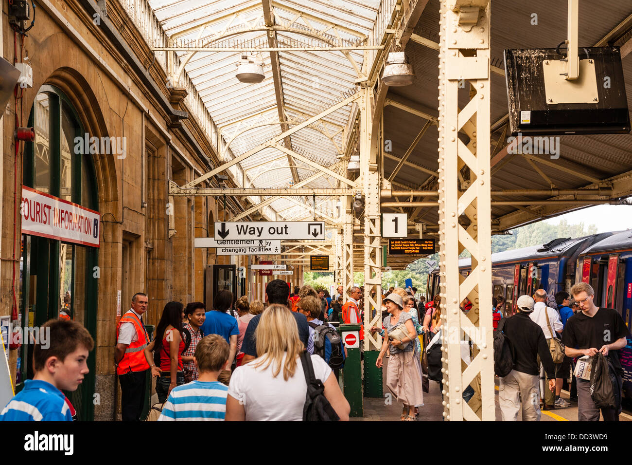 The busy railway station of Bath Spa in Bath , Somerset , England , Britain , Uk - Stock Image