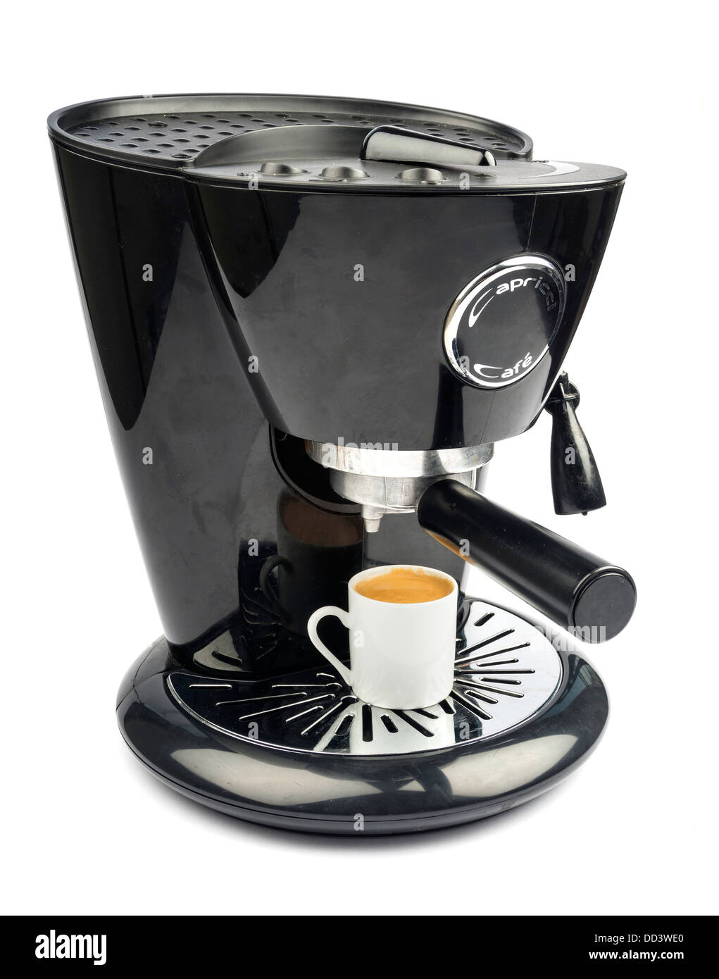 Black electric espresso coffee maker isolated on white background - Stock Image
