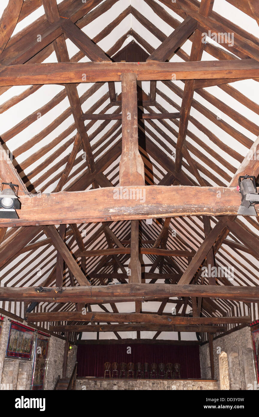 Wooden beams inside an old building - Stock Image