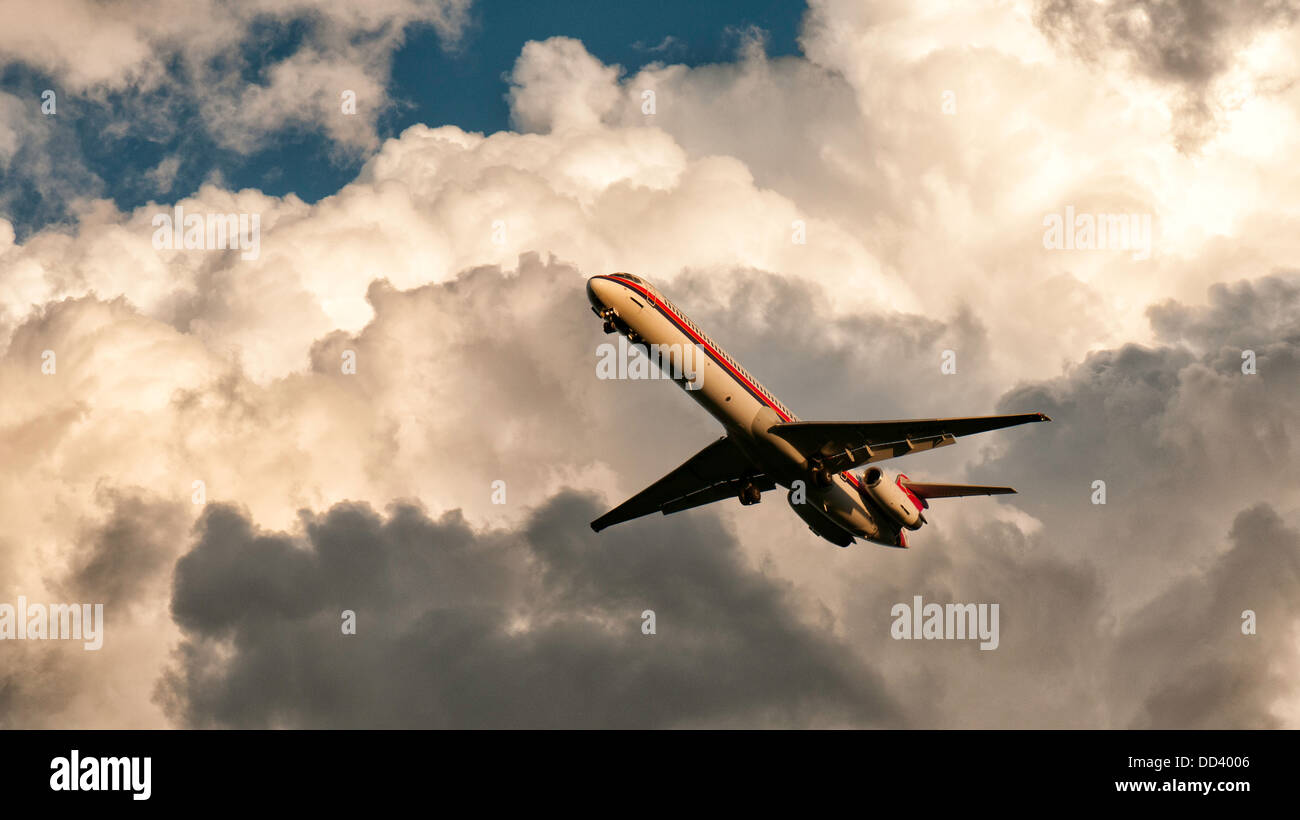 A Meridian jetliner during landing phase at Linate airport - Stock Image