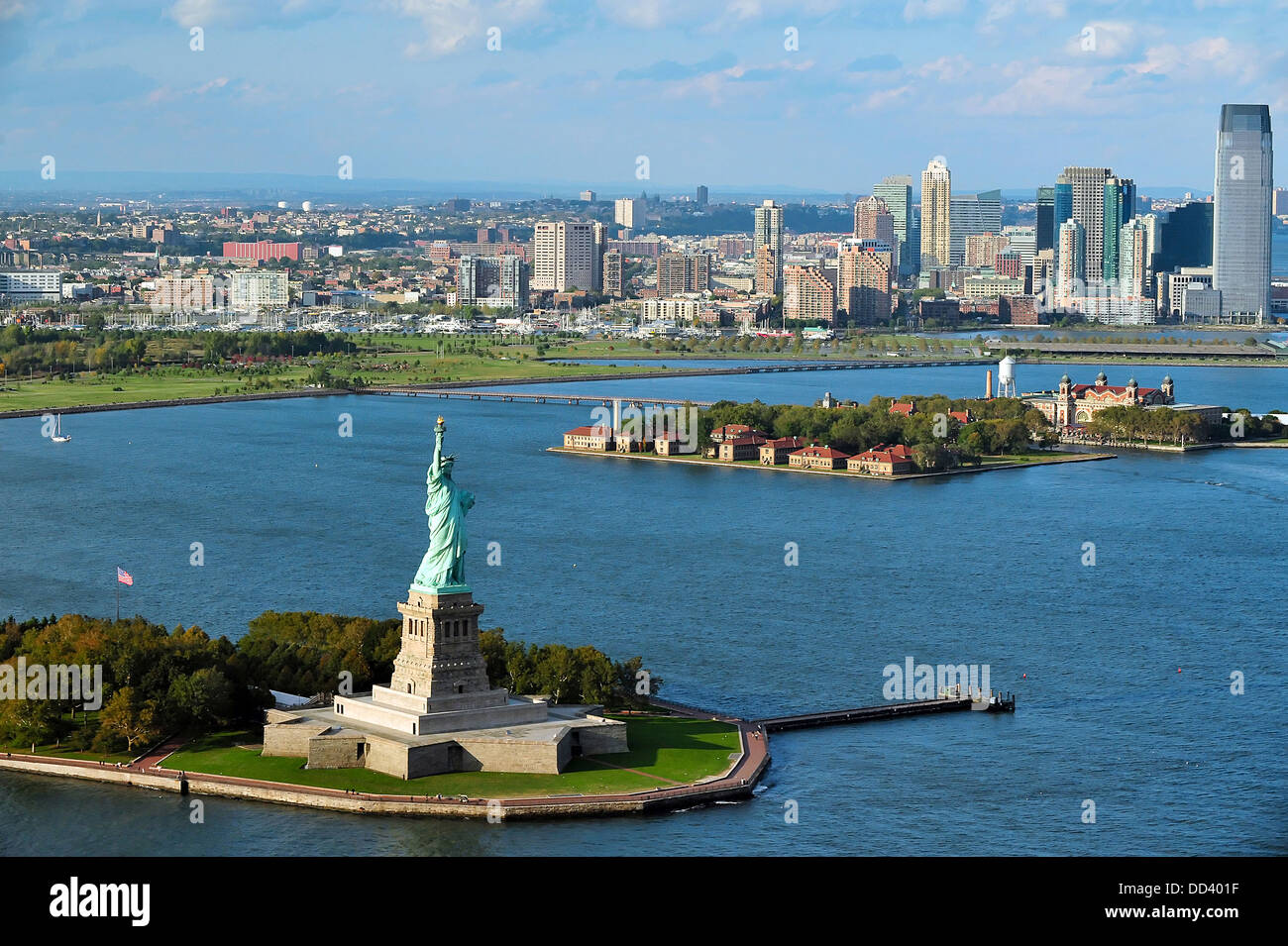 Aerial View Of The Statue Of Liberty And Ellis Island In
