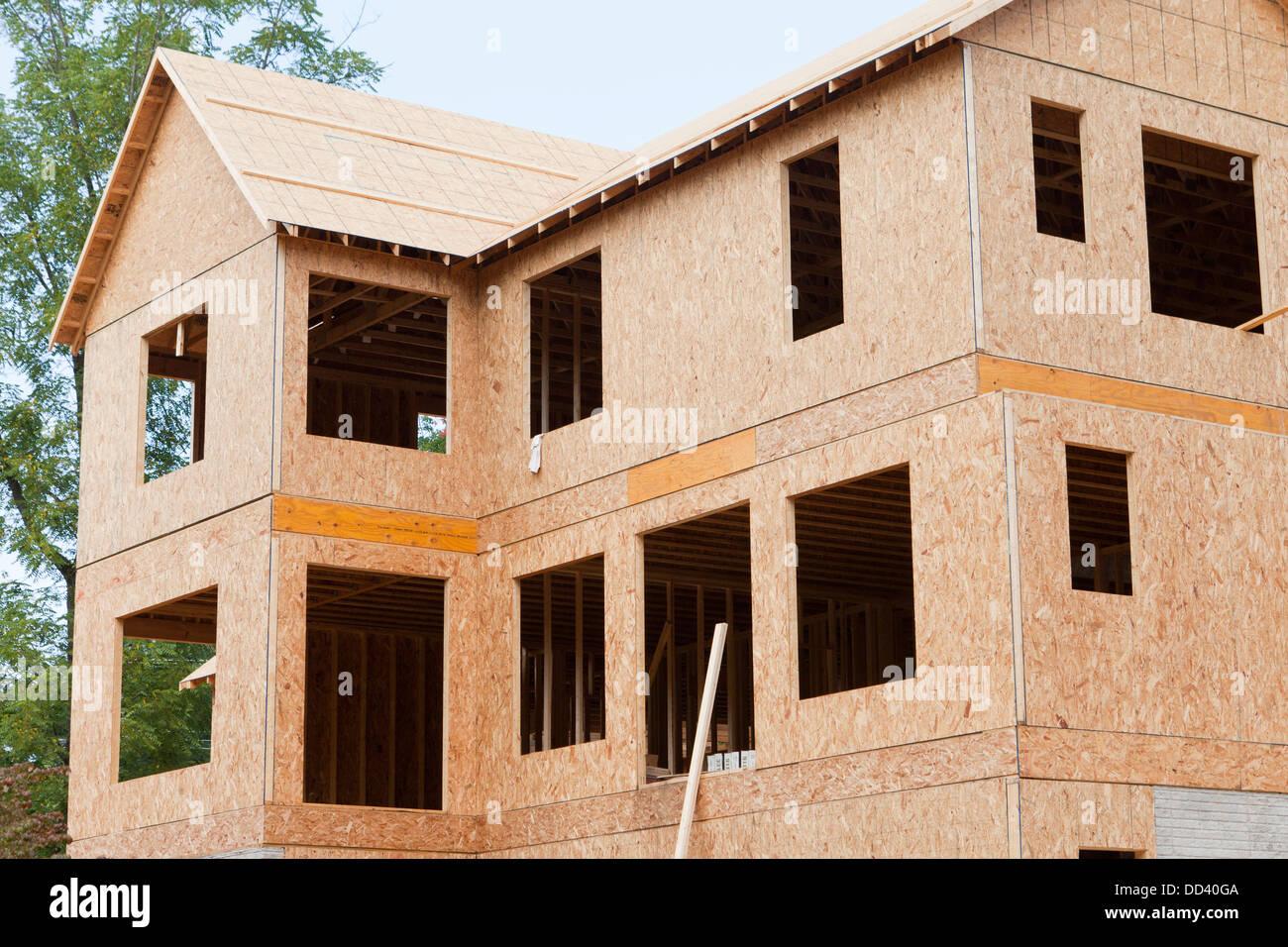 New single family home wood framing - Virginia USA - Stock Image
