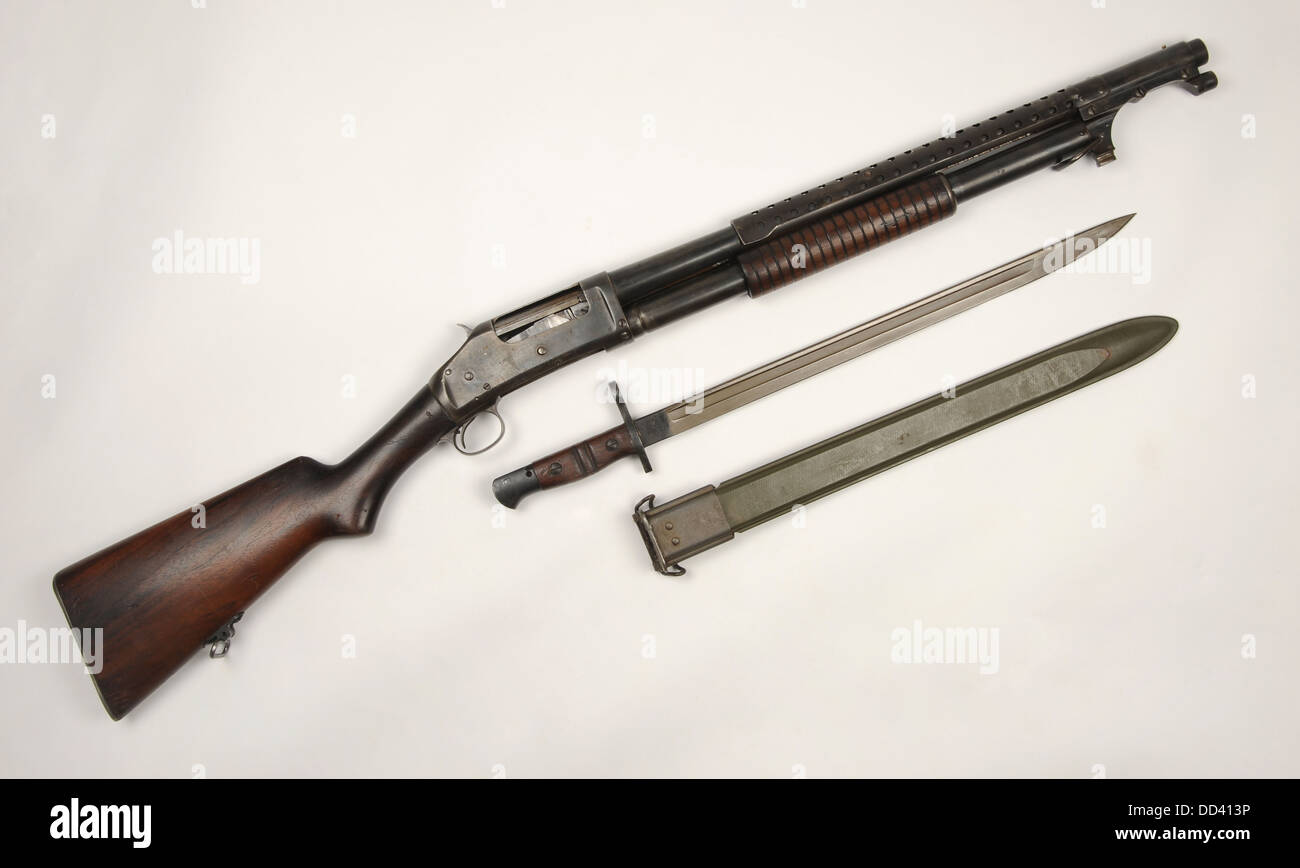 American WWI 12 gauge trench shotgun with M1917 bayonet. The standard US shotgun of WWI WWII Korea and Vietnam - Stock Image