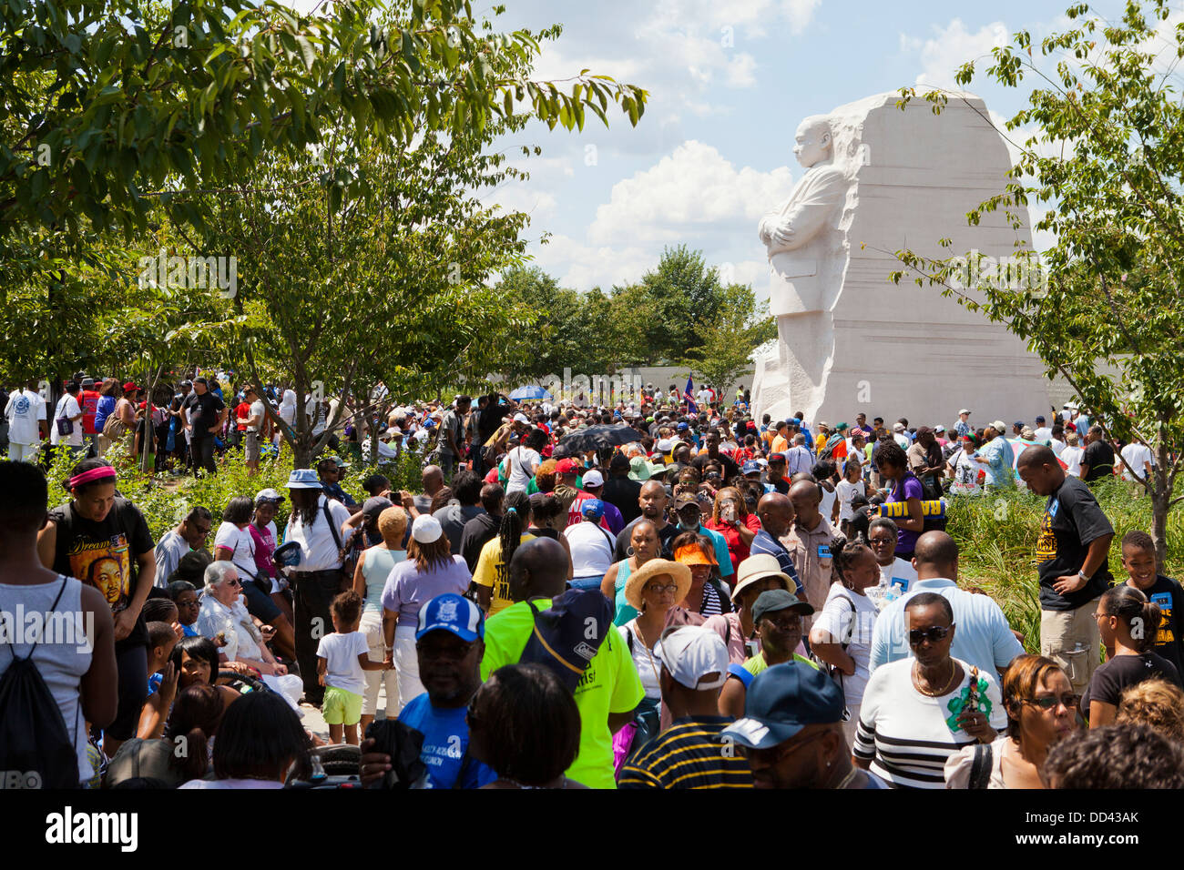 Large crowd of people at the Martin Luther King Memorial - Washington DC - Stock Image