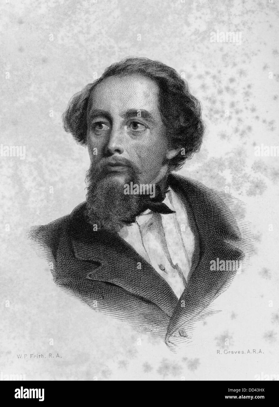 Charles Dickens, shown here at 47, is one of the best known and most distinguished English novelists. - Stock Image