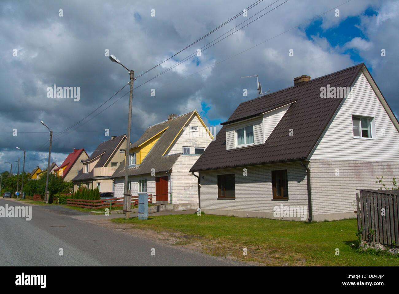 Detached homes suburb in Nooruse streett Kuressaare town Saaremaa island Estonia northern Europe Stock Photo