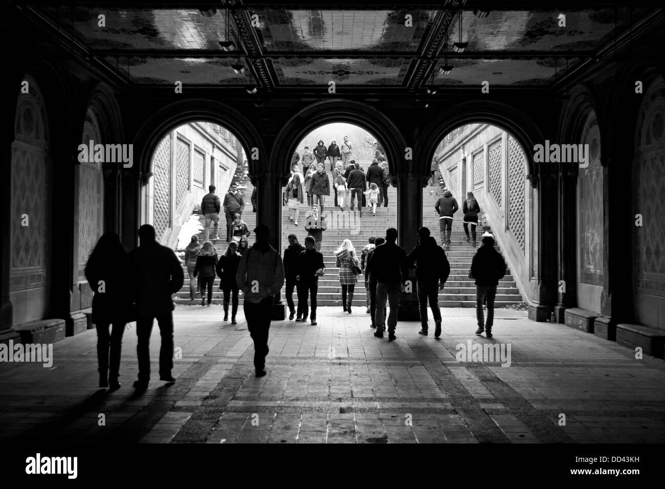 Bethesda Terrace Arcade, New York, Central Park - Stock Image