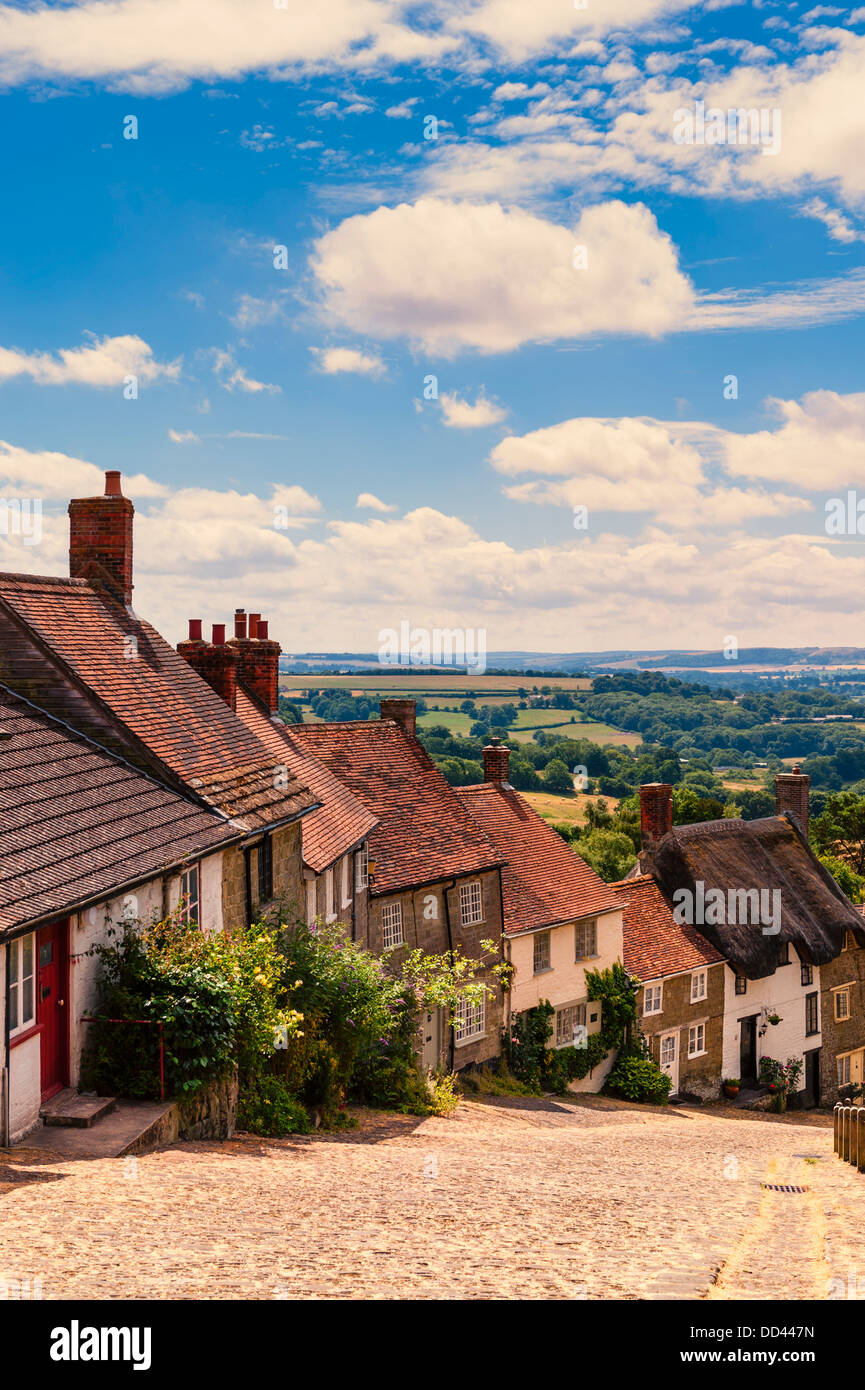 The famous Gold Hill in Shaftesbury , Dorset , England , Britain , Uk Stock Photo