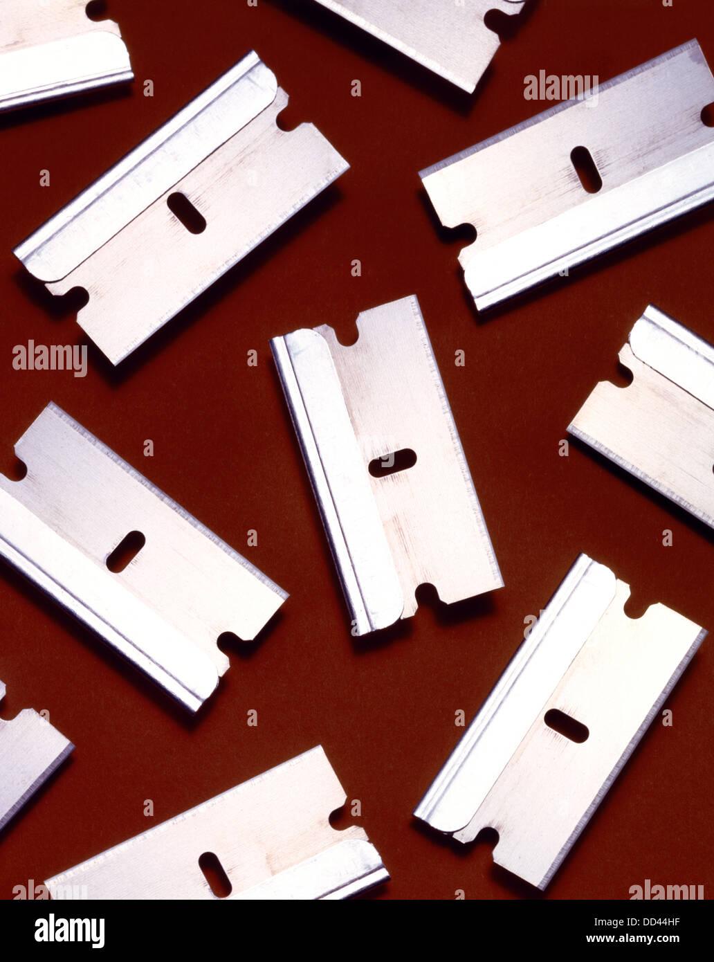 Metal razor blades - Stock Image