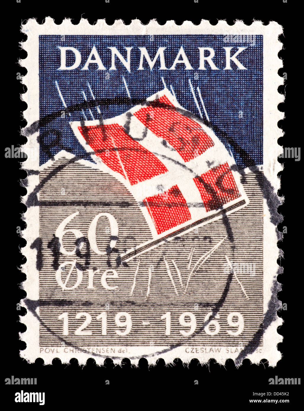 Postage stamp from Denmark depicting the Danish flag (750'th anniversary of the fall of the Dannebrog from heaven. - Stock Image