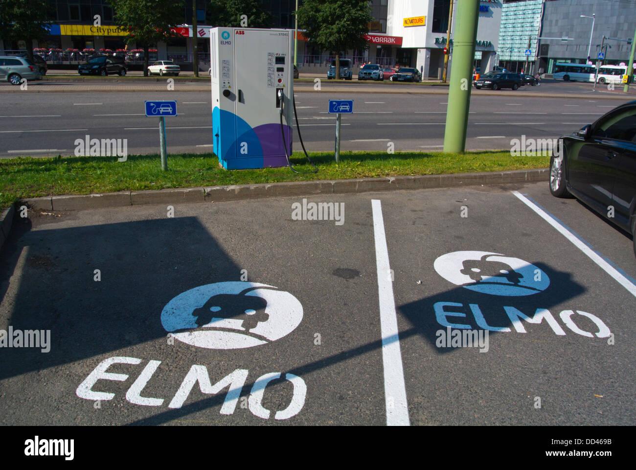 Elmo electric car charge station point Tallinn city business district Tallinn Estonia the Baltics Europe Stock Photo