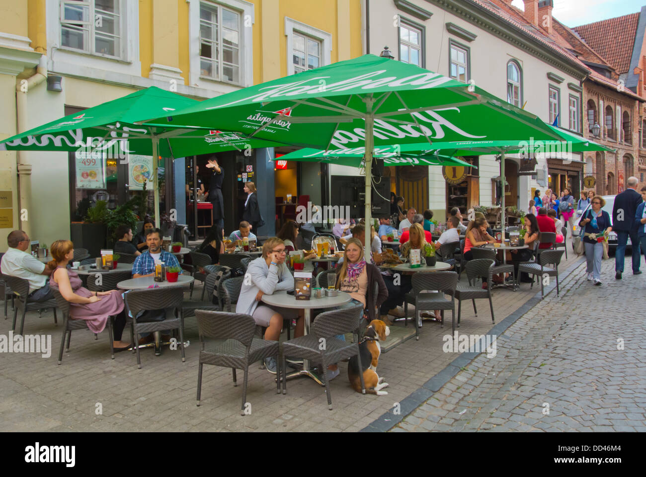 Cafe restaurant terrace Pilies gatve street old town Vilnius Lithuania Europe - Stock Image