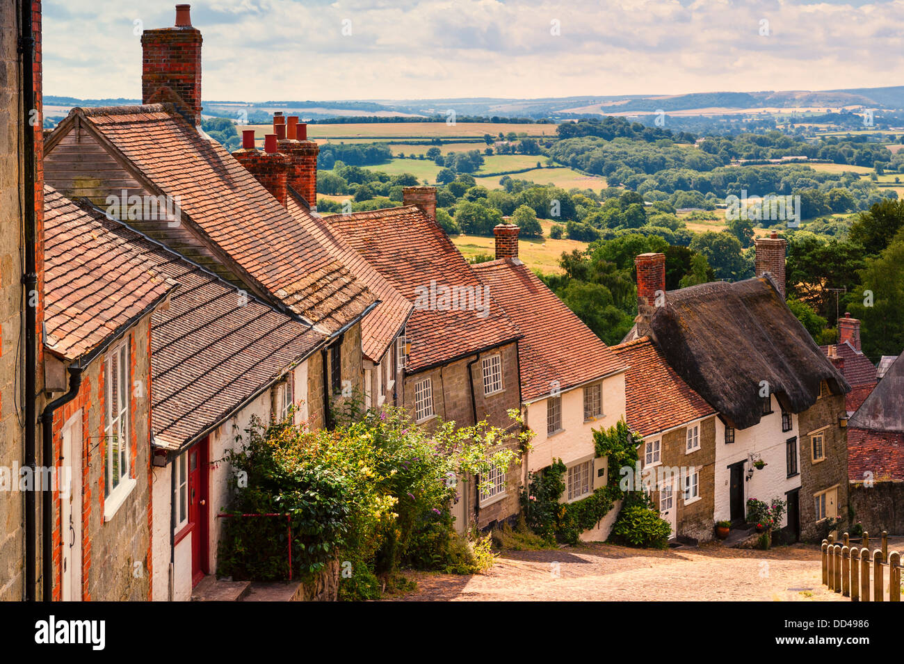 The famous Gold Hill in Shaftesbury , Dorset , England , Britain , Uk - Stock Image