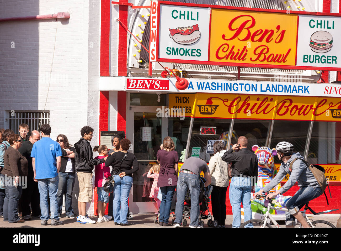 Ben's Chili Bowl landmark diner restaurant in U Street Corridor NW Washington DC. Founded in 1958. - Stock Image