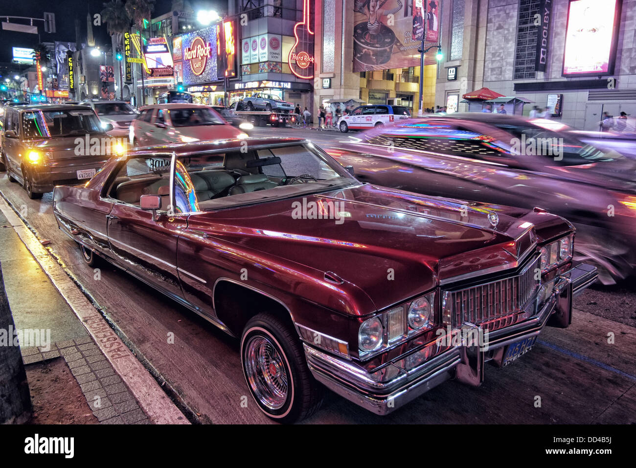 Hollywood Boulevard by night - Stock Image