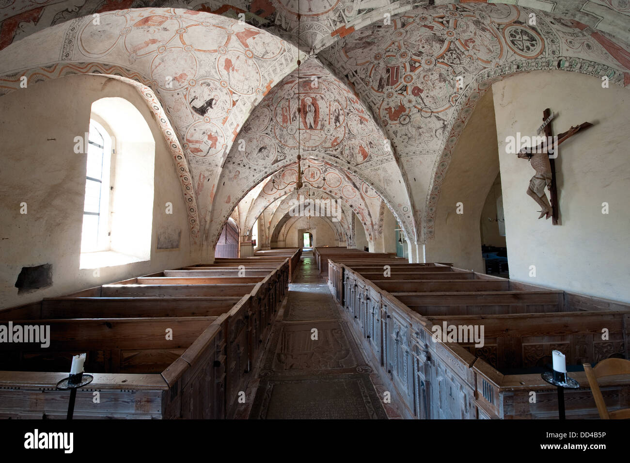 900-year-old church - St Marys church in Risinge, Ostergotland, Sweden - Stock Image