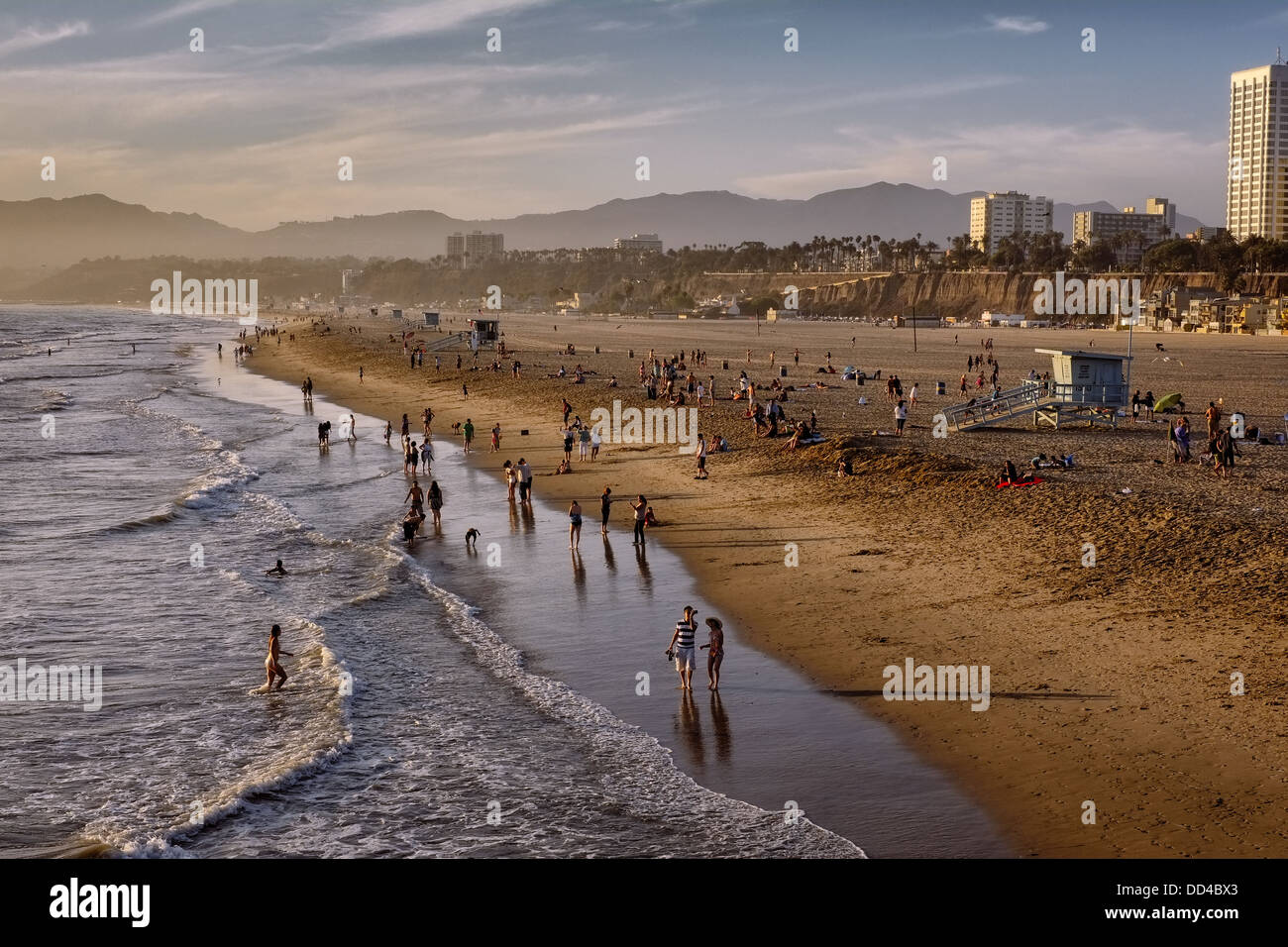 Santa Monica Beach on a hot but late sunny afternoon in September - Stock Image