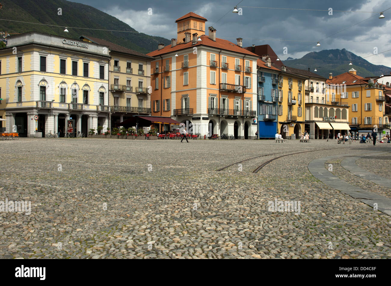 Cobbelstone pavement on the main square Piazza Grande, Locarno,Ticino, Switzerland - Stock Image