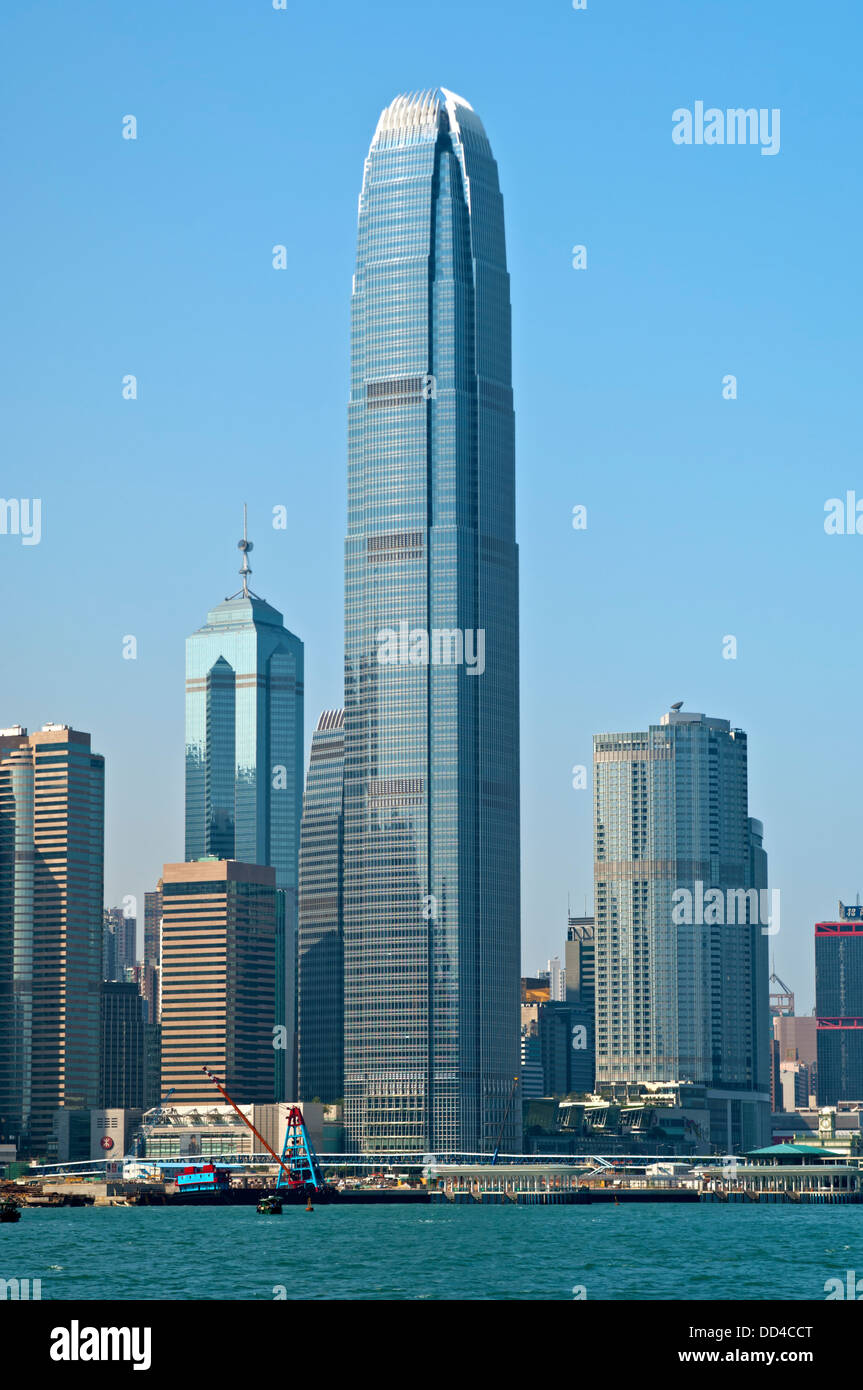 Skyscraper Two International Finance (2 IFC) and other high-rising buildings in the Central District of Hong Kong - Stock Image