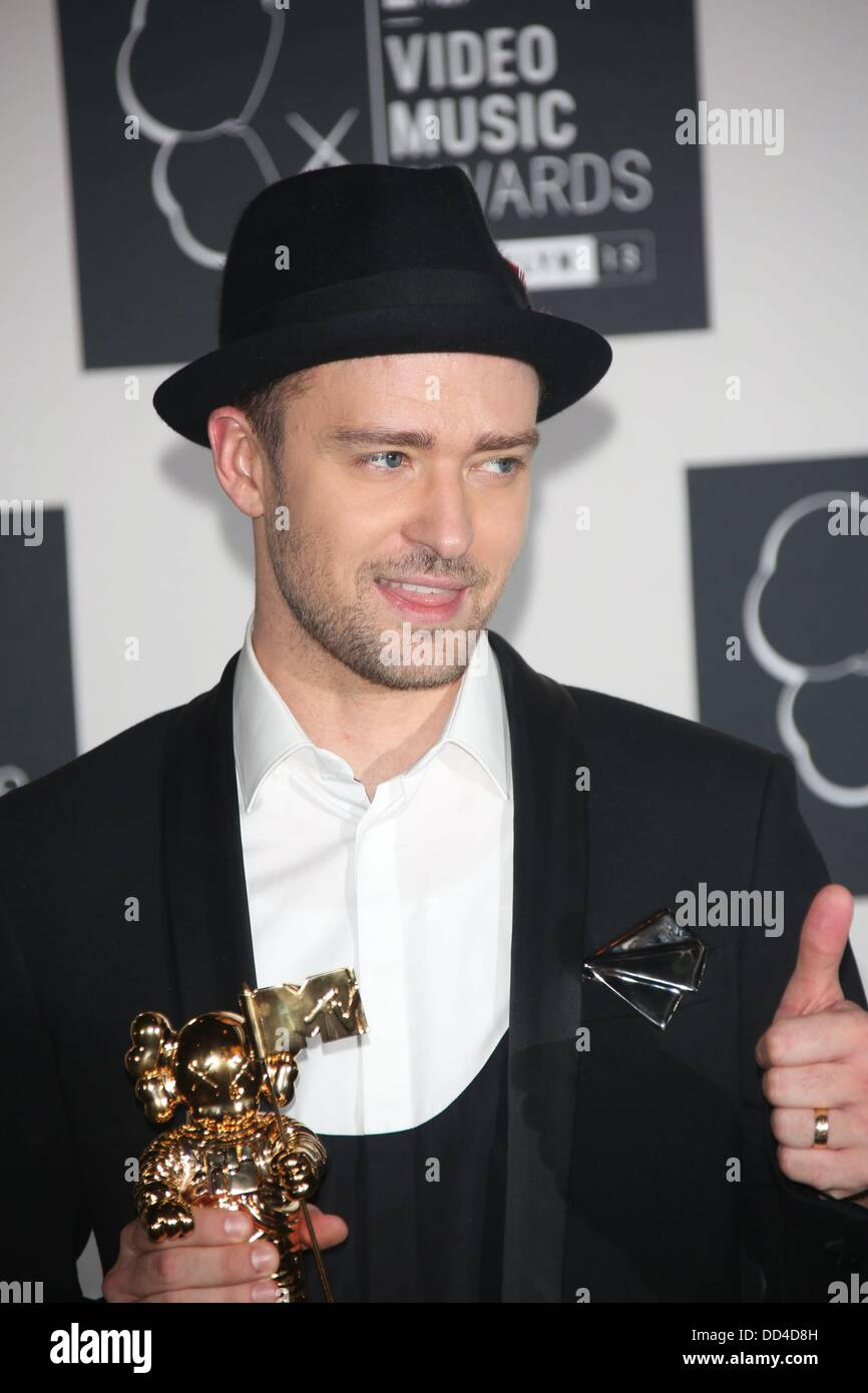 US singer Justin Timberlake poses with his 'Video Of The Year' award in the  press room of the MTV Video Music Awards at the Barclays ...