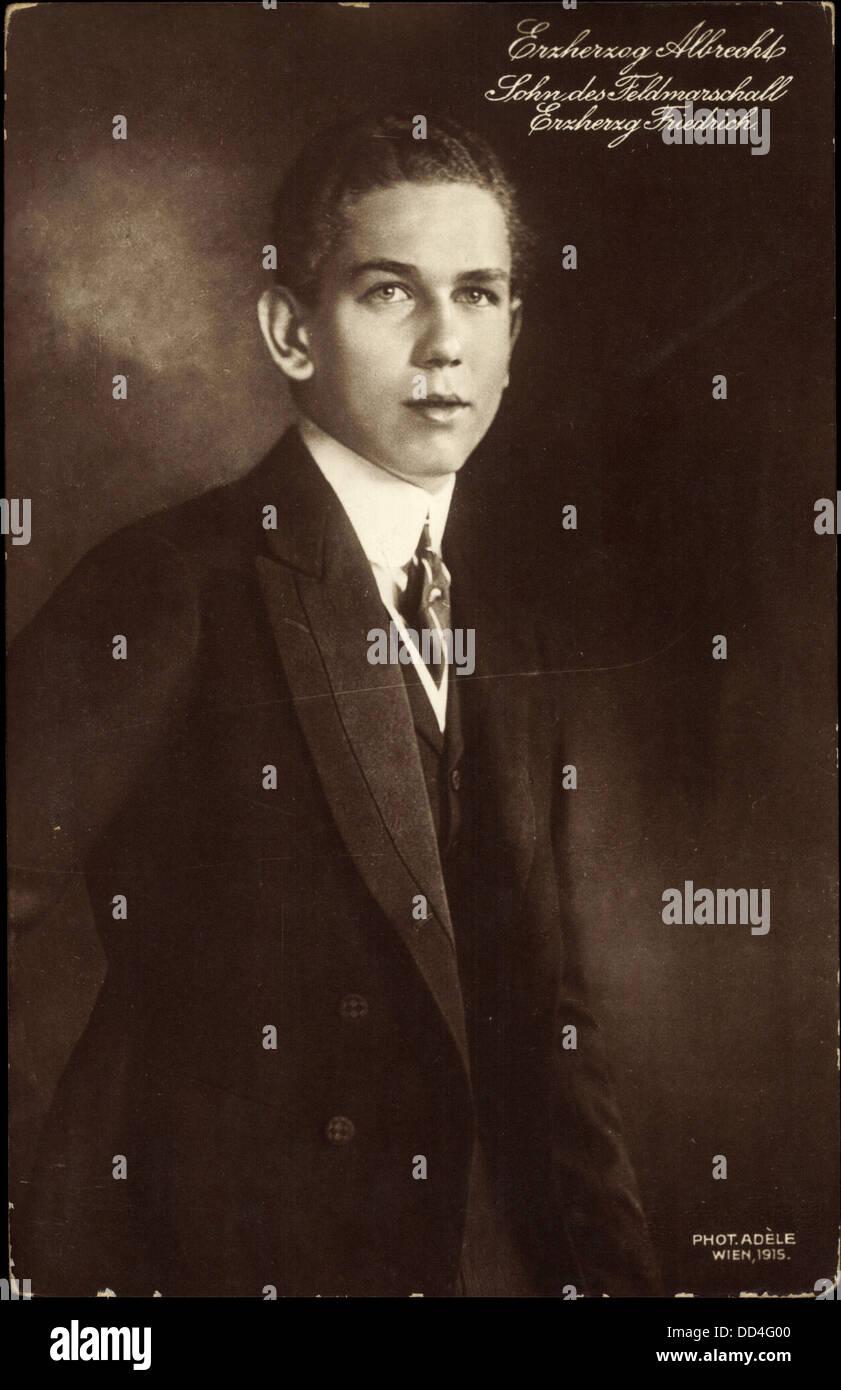Ak Erzherzog Albrecht, Sohn des Feldmarschall Erherzog Friedrich; - Stock Image