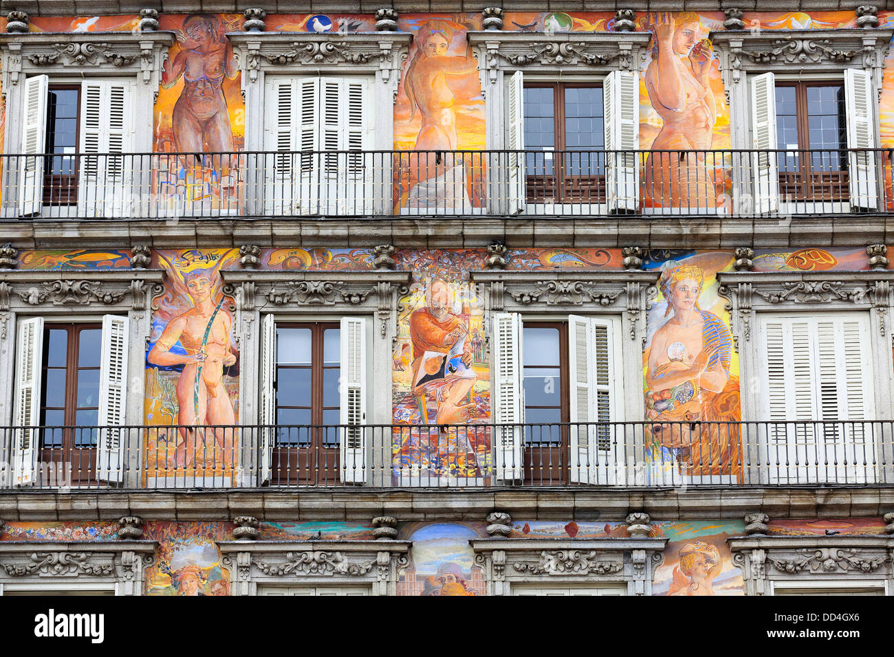 Creatively painted facade of building inside Plaza Major, Madrid - Stock Image