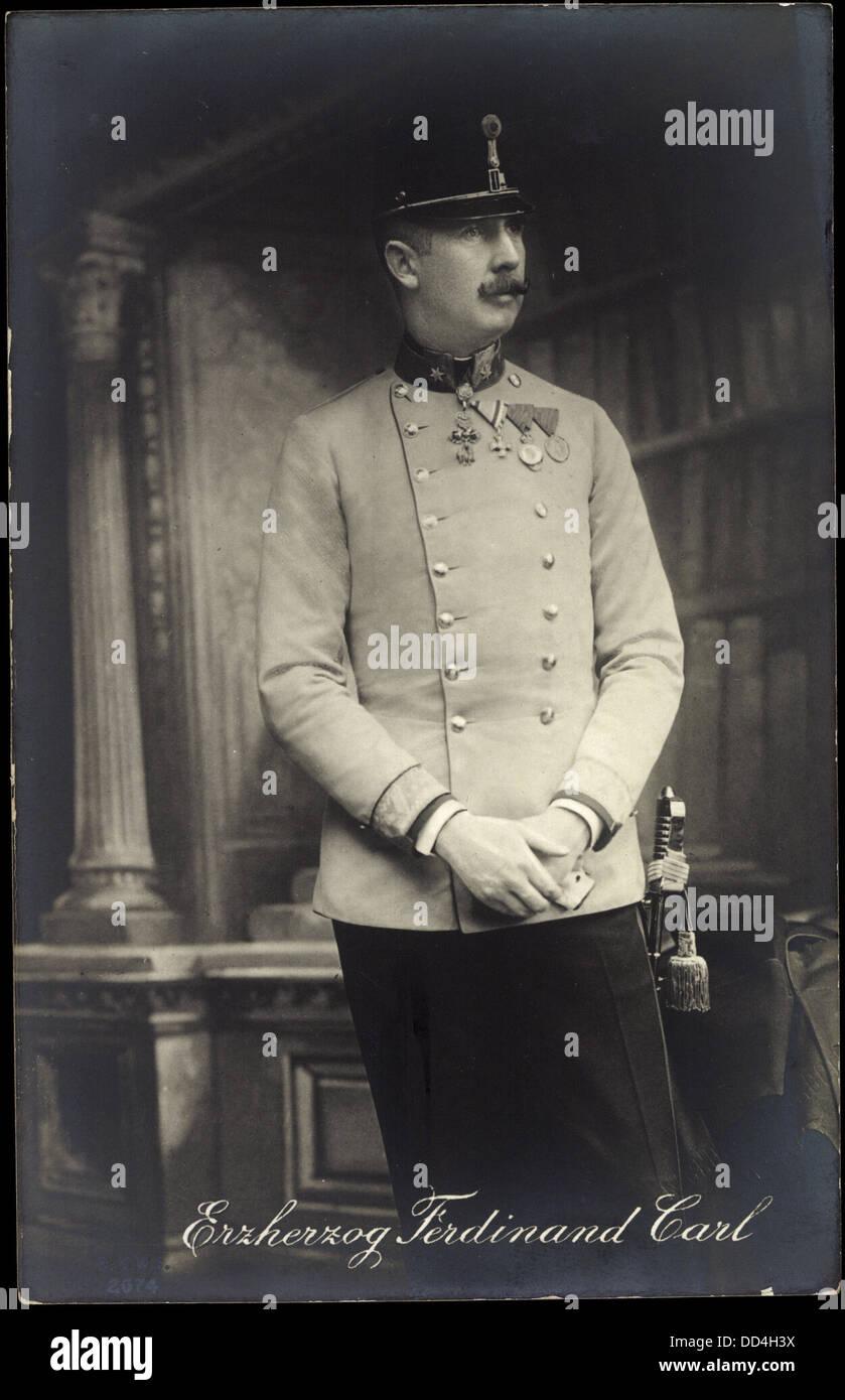 Ak Erzherzog Ferdinand Carl von Österreich, Uniform, Abzeichen; - Stock Image