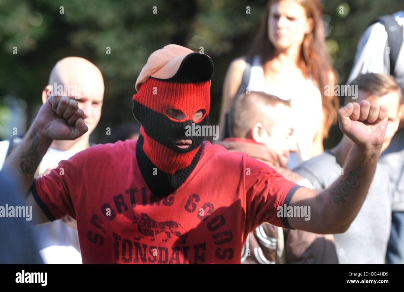 Anti Romany march of right wing extremists ended with clash with police in Ostrava, Czech republic on August 24, - Stock Image