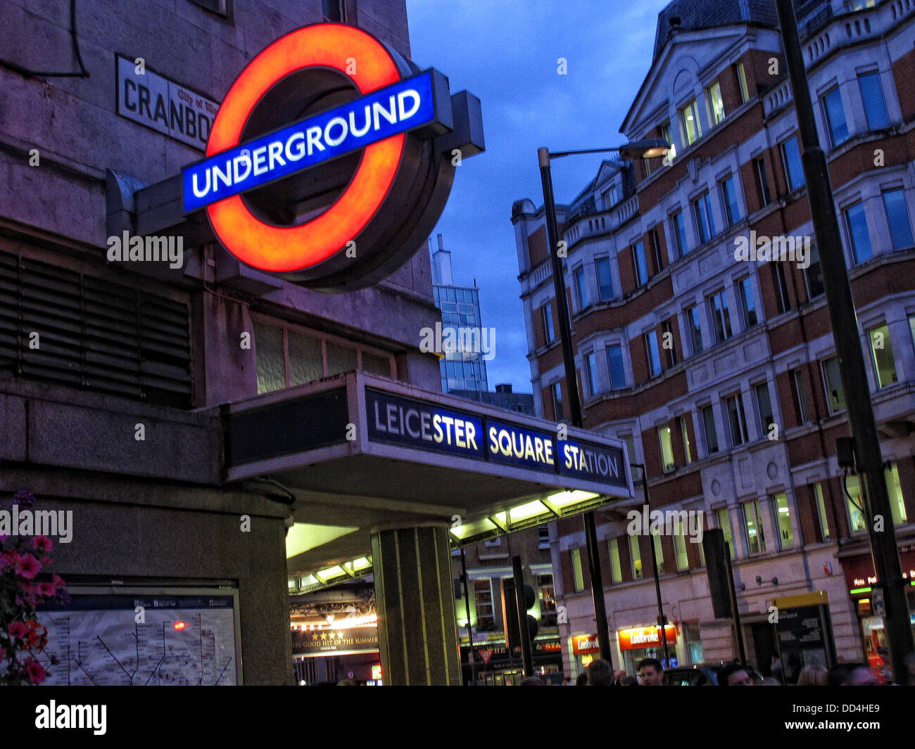 Leicester Square London Underground Station, South East England at dusk - Stock Image