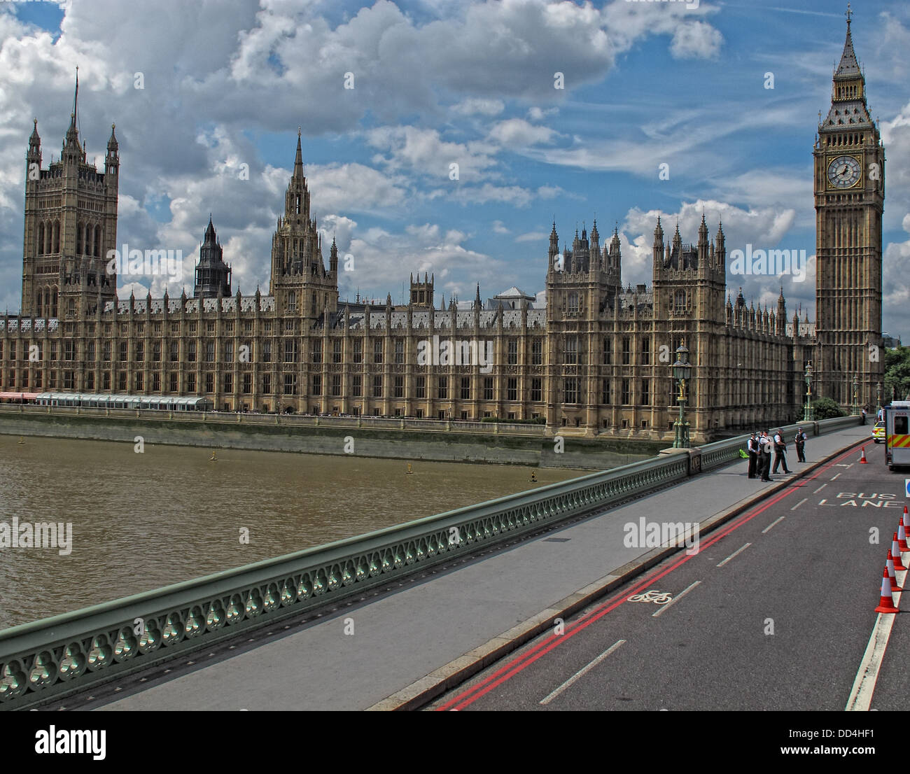 Palace of Westminster, from Westminster Bridge, coming north, London, South East England, SW1A 0AA - Stock Image