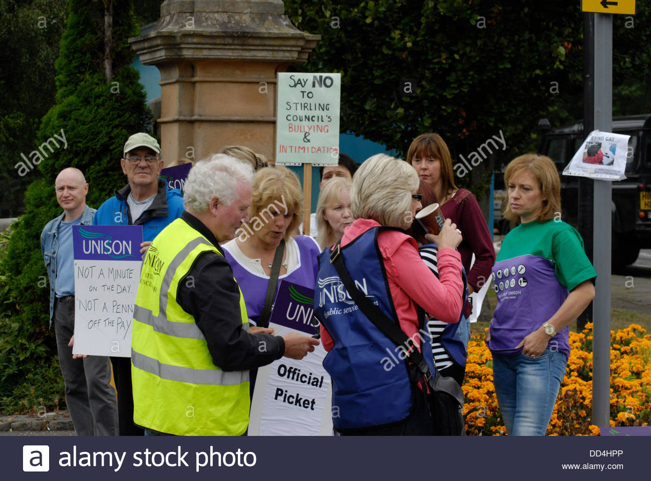 Stirling, UK. 26th Aug, 2013. Members of UNISON and other unions working for Stirling Council stage a one day strike - Stock Image