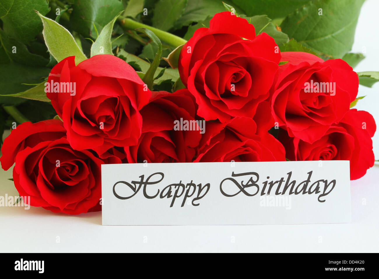 Happy Birthday Card With Red Roses