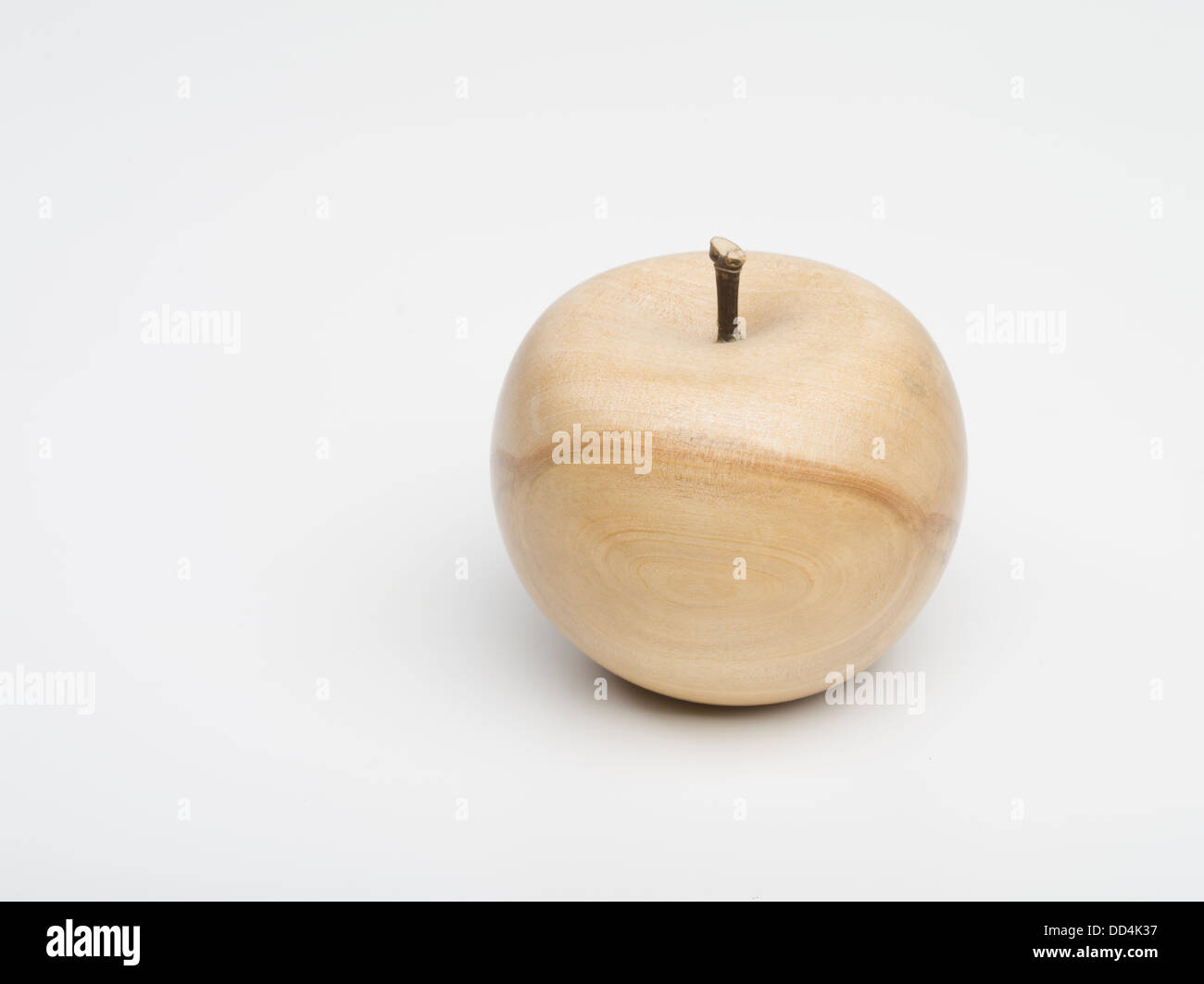 Apple  / Pear Wooden fruit created by turning wood on a lathe - Stock Image