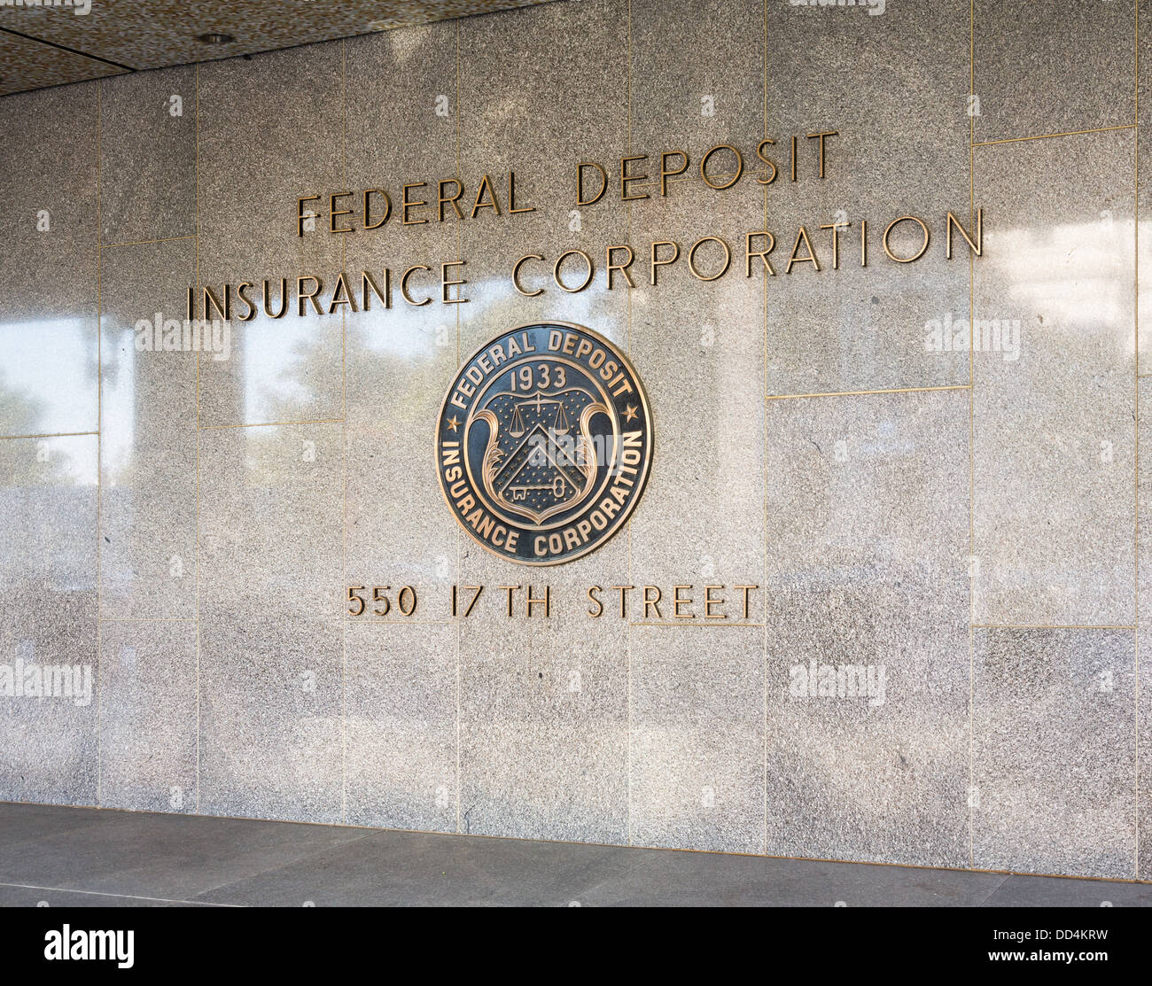 Seal of the Federal Deposit Insurance Corporation (FDIC) at 17th Street NW, Washington DC - Stock Image