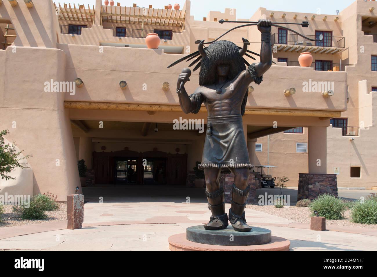 A statue outside the Buffalo thunder casino, near Santa Fe, New Mexico. - Stock Image