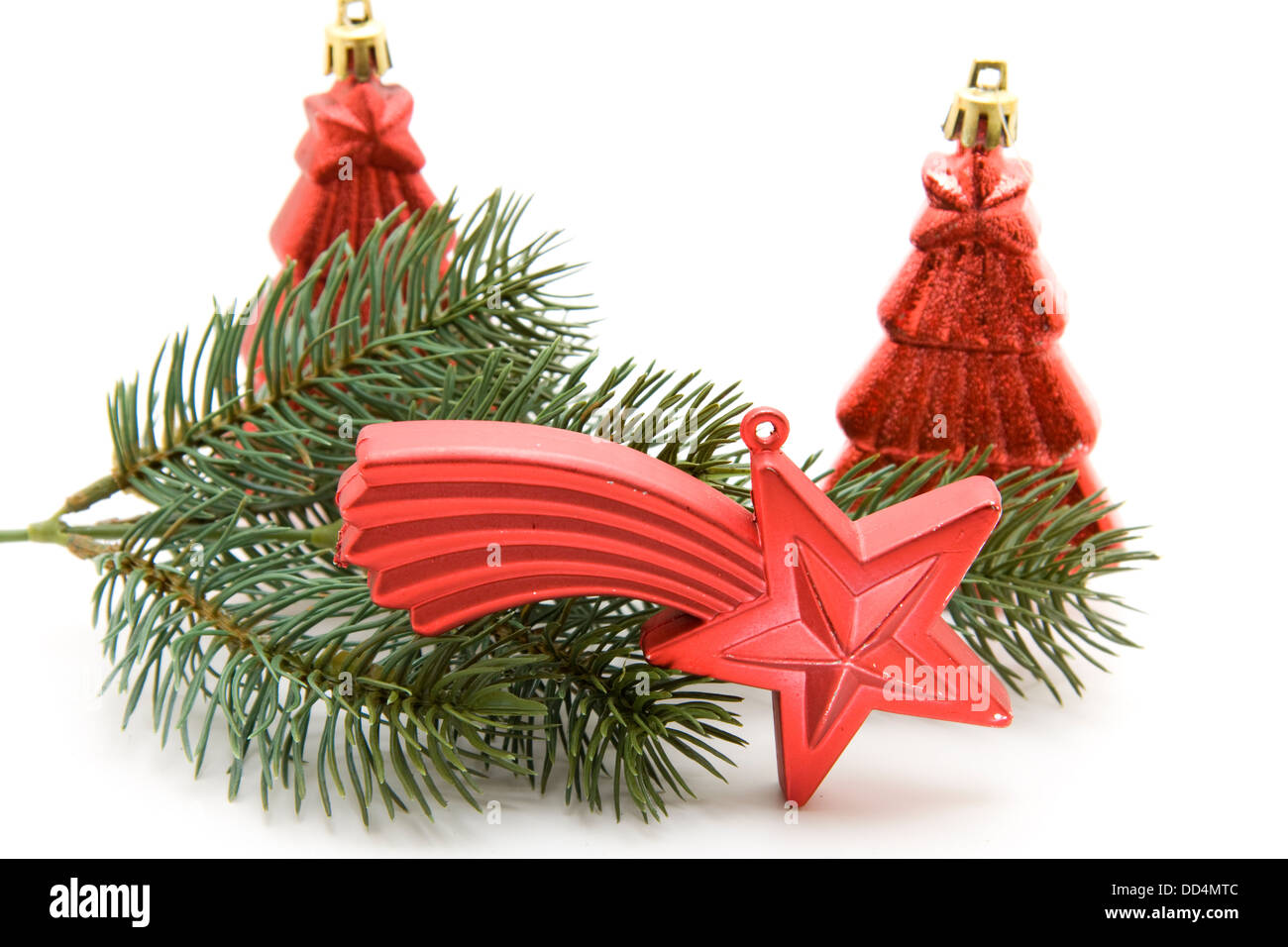 Christmas star with firs tree - Stock Image